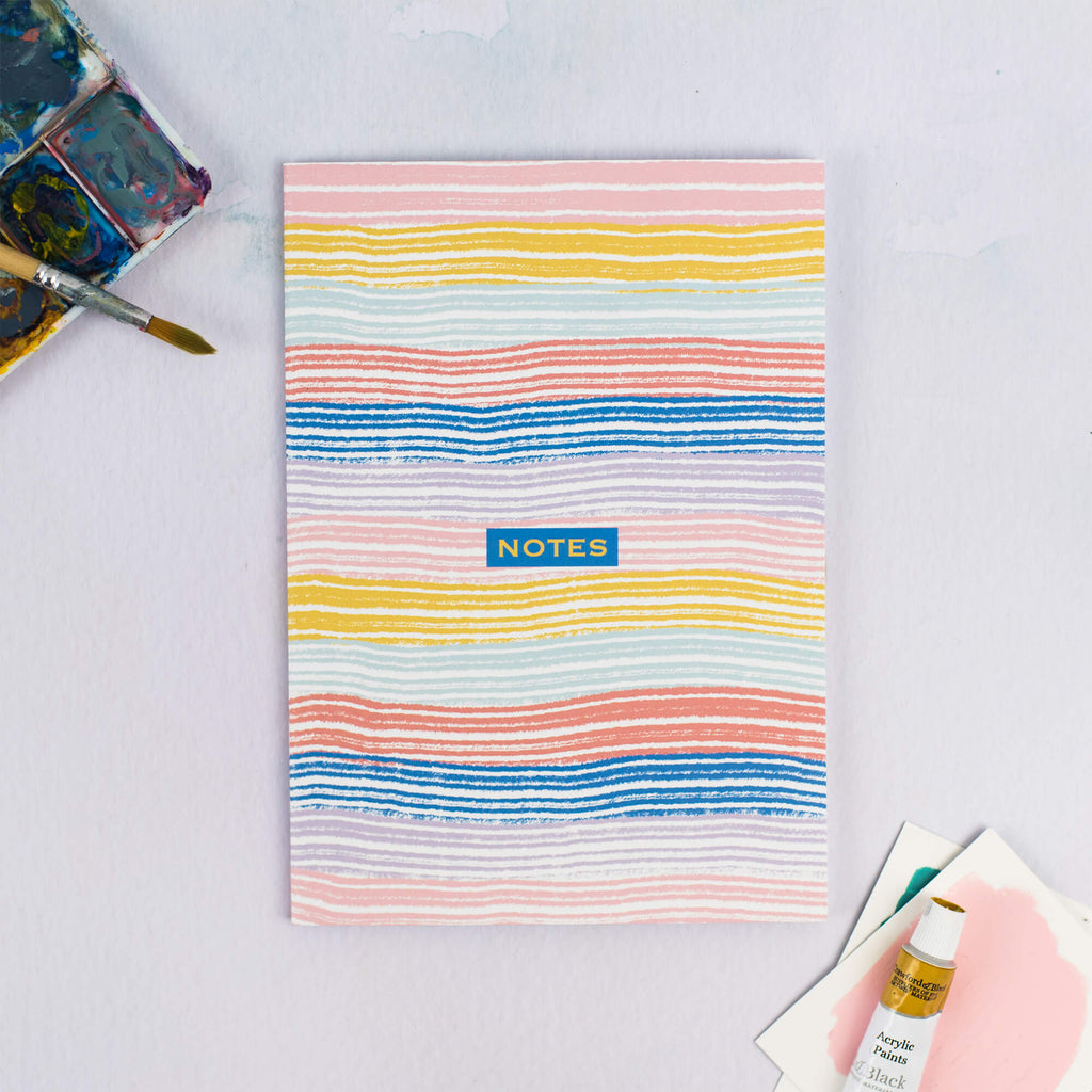 HAPPY STRIPES A5 LINED NOTEBOOK - The Design Palette