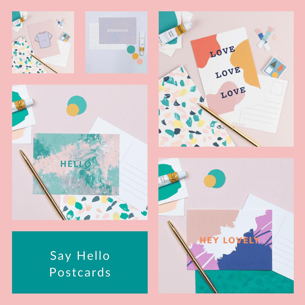 Say Hello Postcards - 5 for £5 - The Design Palette