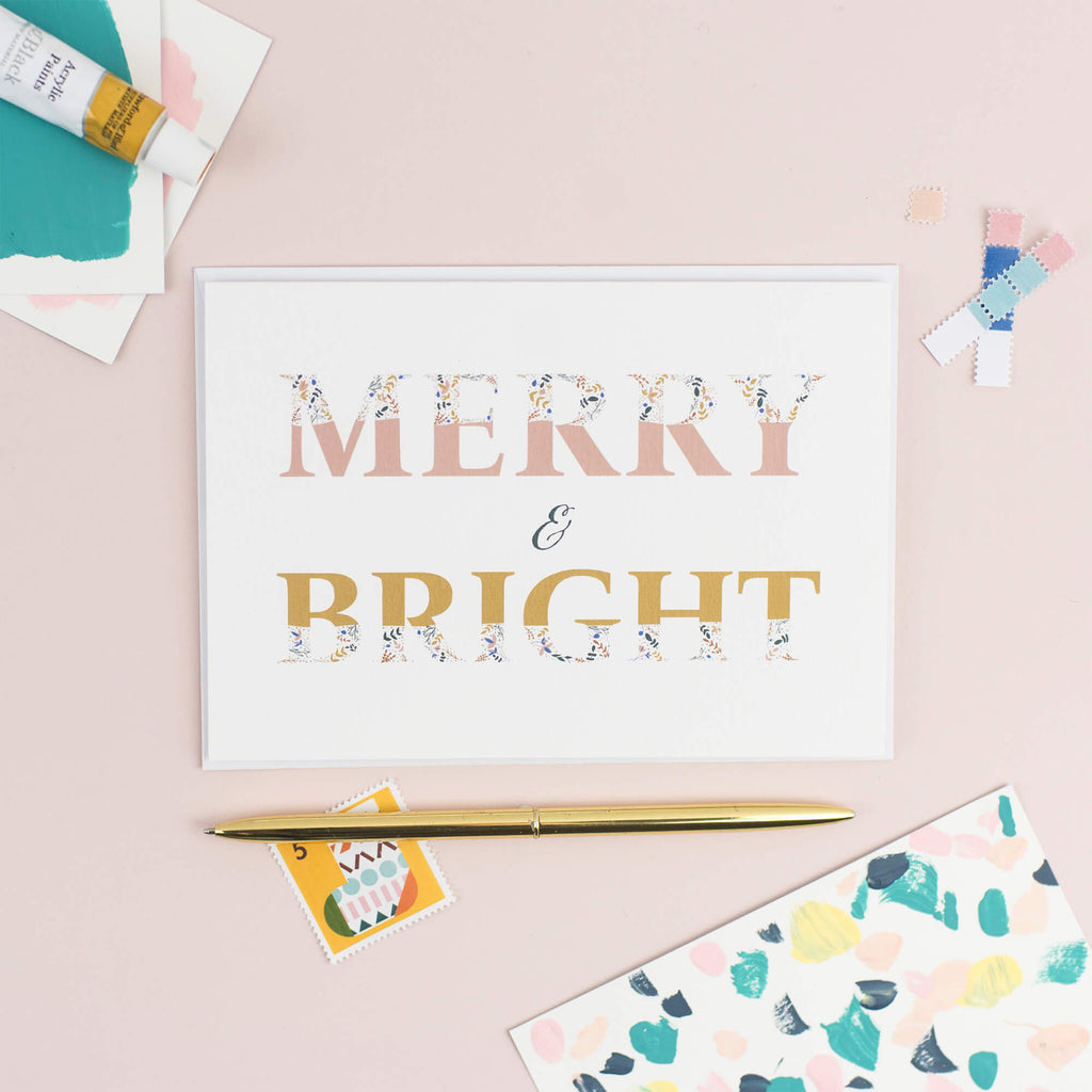 MERRY AND BRIGHT CHRISTMAS CARD - The Design Palette