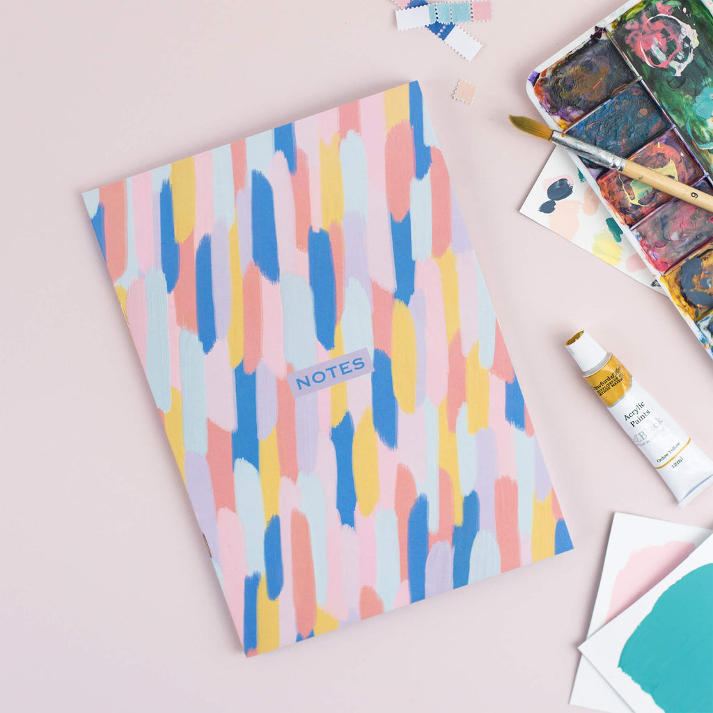 Multi-Coloured Brush Strokes A5 Plain Notebook - The Design Palette