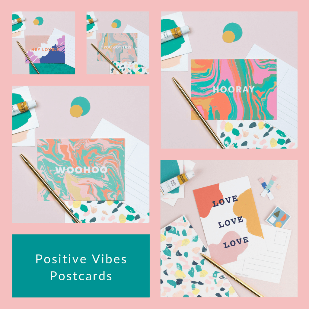 Postive Vibes Postcards - 5 for £5 - The Design Palette