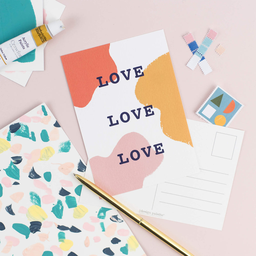 Love Love Love Postcard - The Design Palette