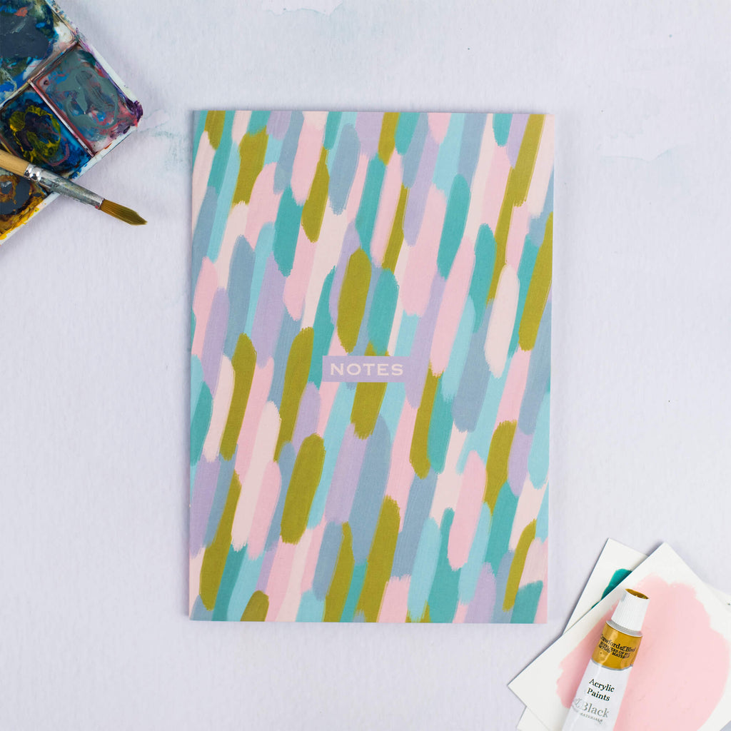 PRETTY BRUSH STROKES A5 DOTTED NOTEBOOK - The Design Palette