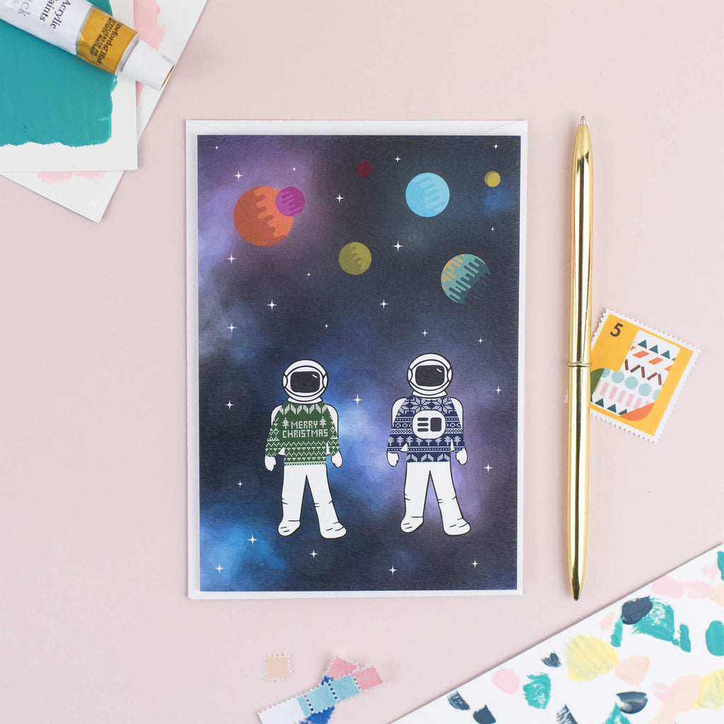 Astronauts in Space Christmas Card - The Design Palette