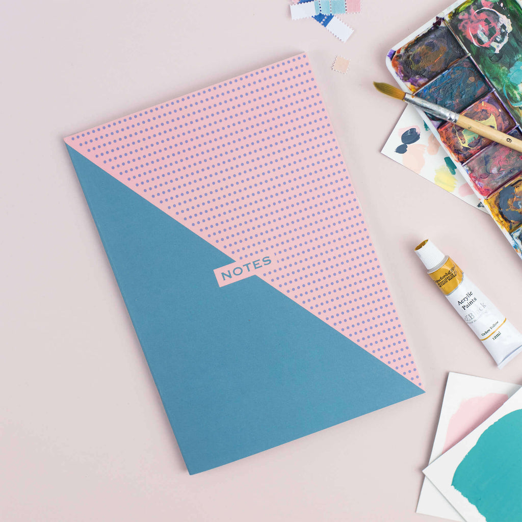 Two-Tone Teal and Pink A5 Plain Notebook - The Design Palette