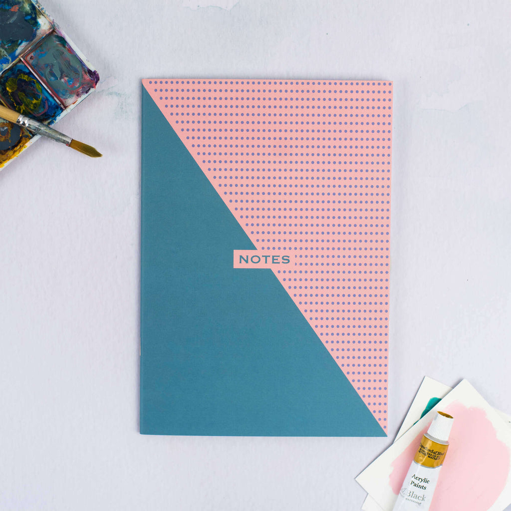 Two-Tone Teal and Pink A5 Dotted Notebook - The Design Palette