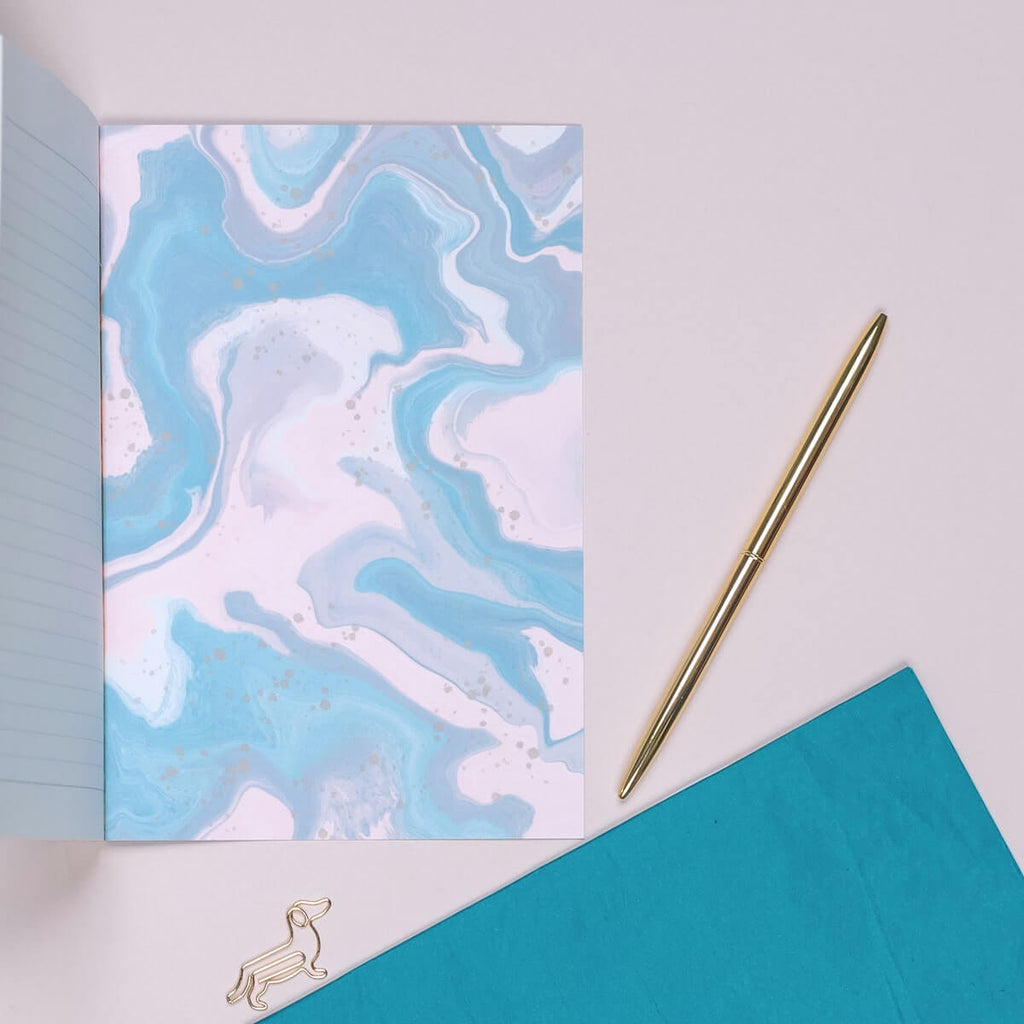 Winter Blue A5 Marble Notebook