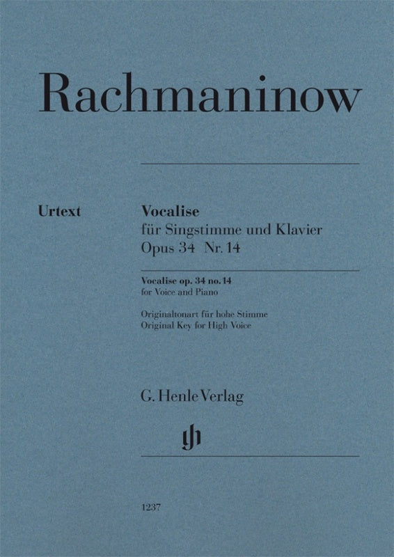 Rachmaninoff: Vocalise Op 34 No 14 for Voice & Piano