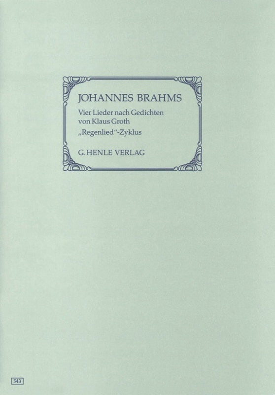 Brahms: Four Songs with Lyrics by Groth Op 59 Voice & Piano