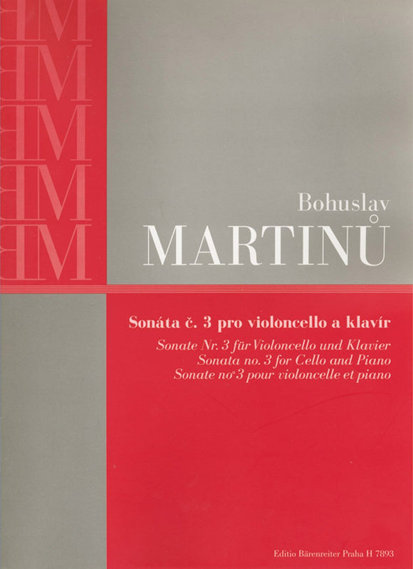 Martinu : Sonata No 3 for Cello & Piano