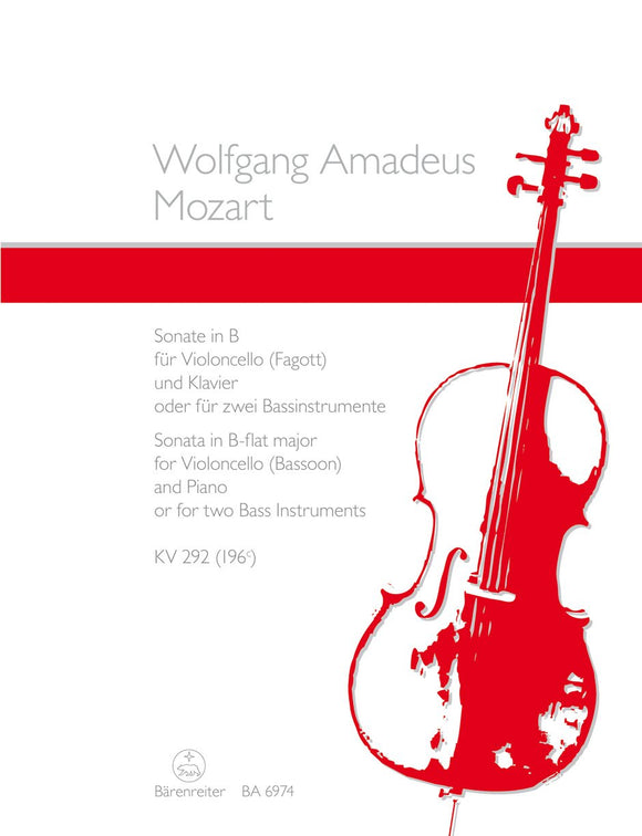 Mozart: Sonata in B Flat for Cello (or Bassoon) & Piano
