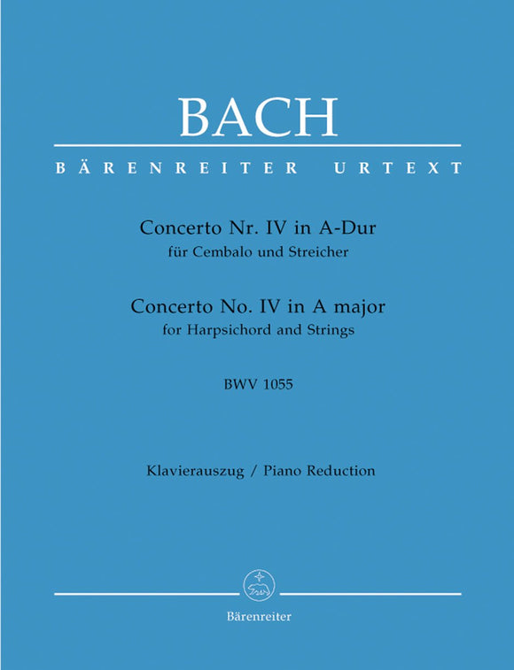 Bach: Concerto No 4 in A for Harpschord & Strings (Piano Reduction)