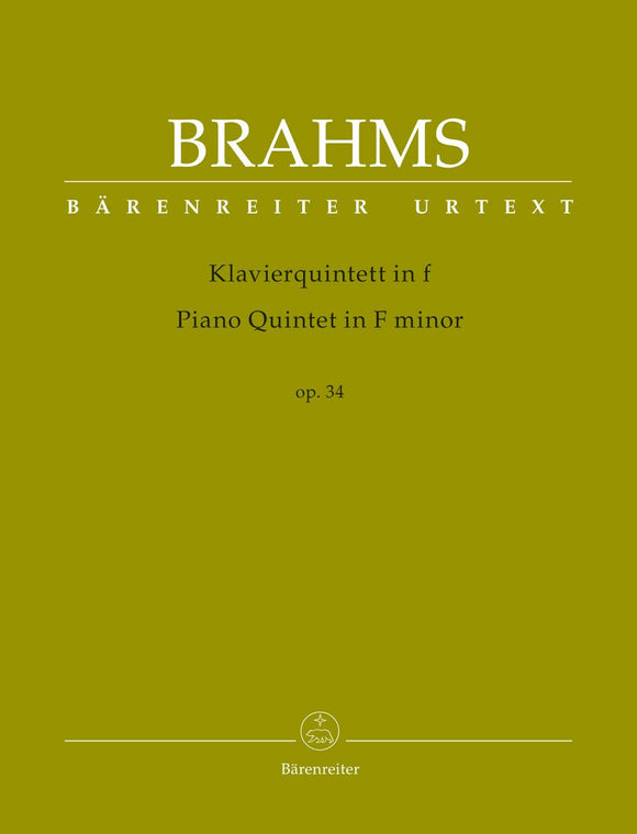 Brahms: Piano Quintet in F Minor Op 34 - Score & Parts