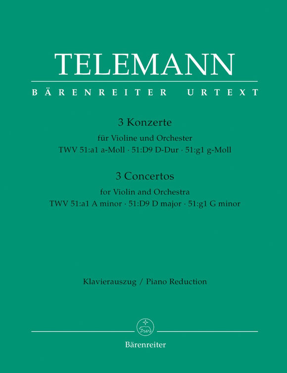 Telemann: Violin Concertos in A, D, G for Violin & Piano