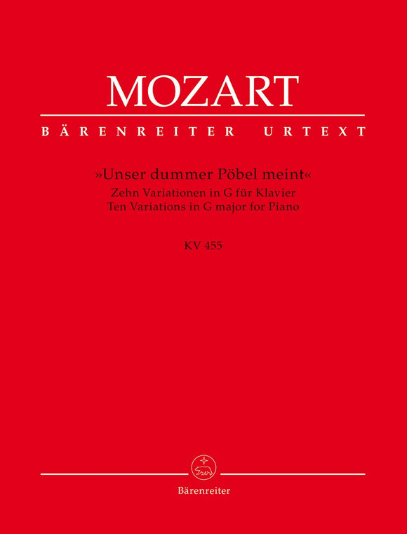 Mozart: Ten Variations K455 for Piano Solo