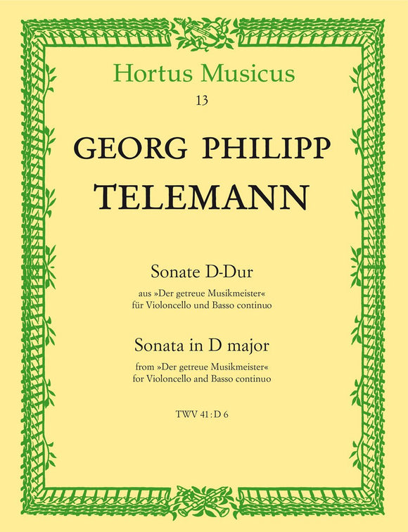 Telemann: Sonata in D for Cello & Basso Continuo