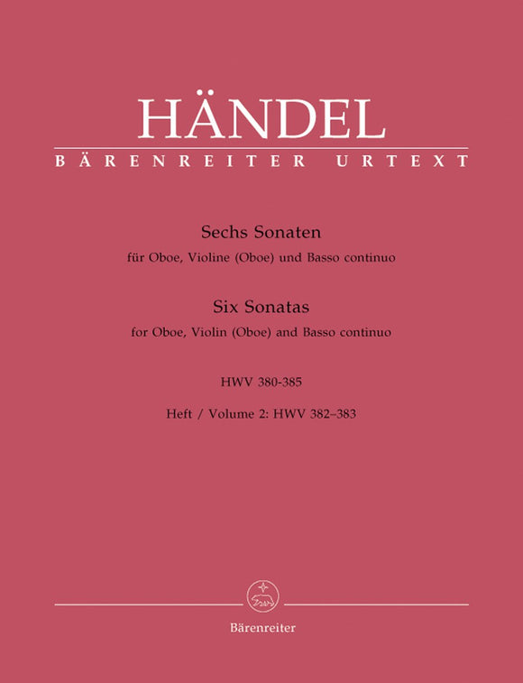 Handel: Six Sonatas for Oboe, Violin & Basso Continuo - Book 2