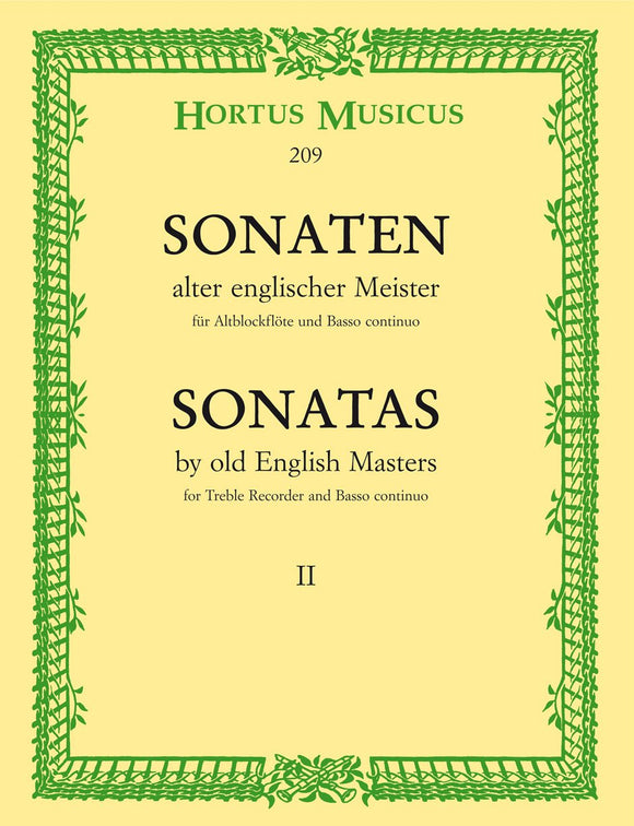 Sonatas by the Old English Masters - Vol 2 for Treble Recorder