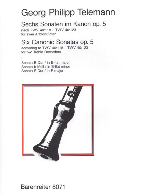 Telemann: Six Sonatas in Canon Op 5 - Book 1, for 2 Treble Recorders