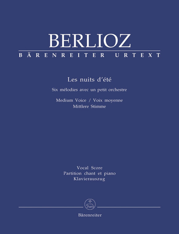 Berlioz: Les Nuits Dete for Medium Voice & Piano