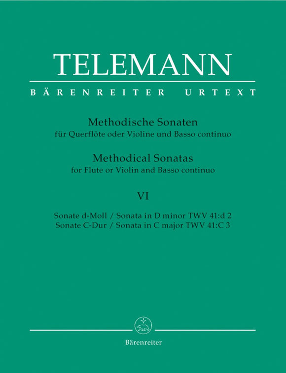 Telemann: Twelve Methodical Sonatas Volume 6 for Flute & Piano