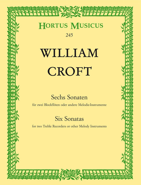 Croft : Six Sonatas for 2 Treble Recorders
