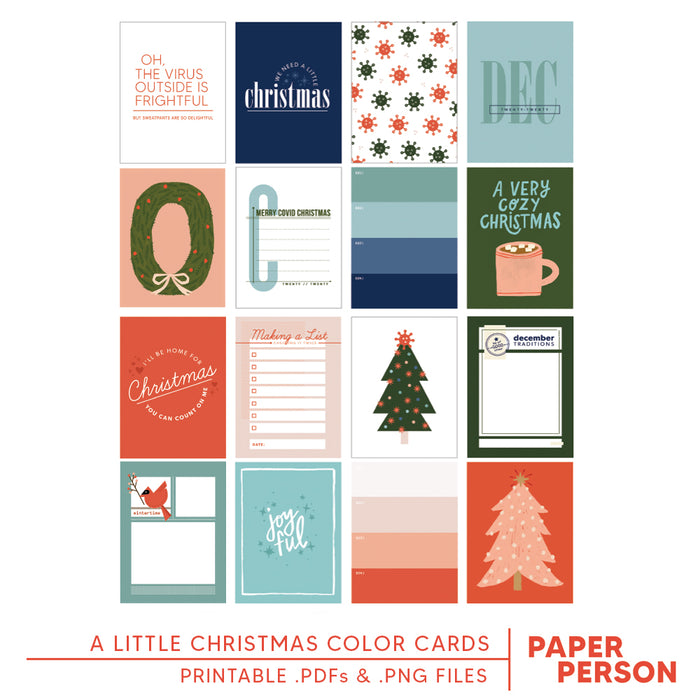 Holiday: A Little Christmas Color 3x4 Printable Cards