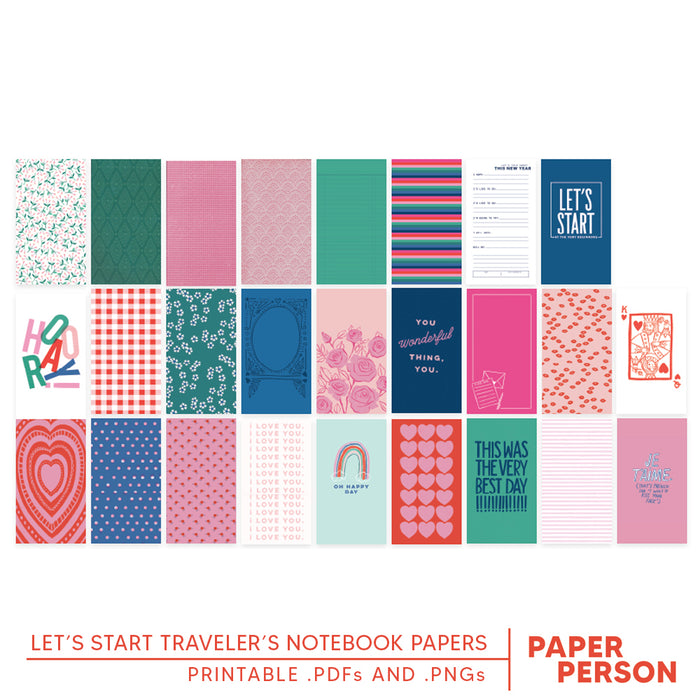 Let's Start Printable Traveler's Notebook Papers