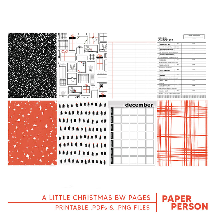 Holiday: A Little Christmas B&W 6x8 Printable Cards