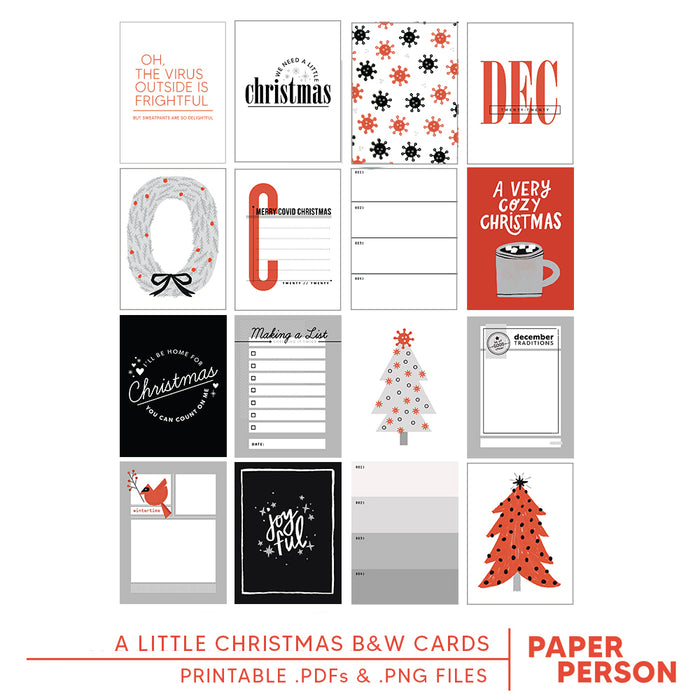 Holiday: A Little Christmas B&W 3x4 Printable Cards