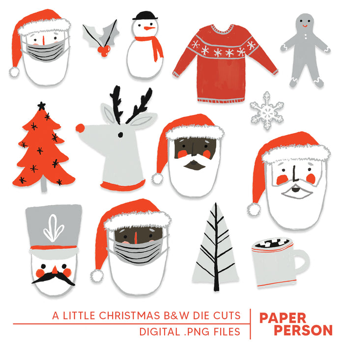 Holiday: A Little Christmas Digital BW Die Cuts