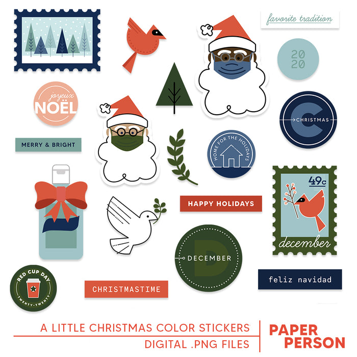 Holiday: A Little Christmas Digital Color Stickers