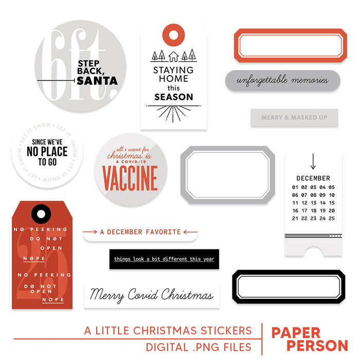 Holiday: A Little Christmas BW Stickers
