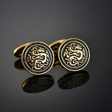 Load image into Gallery viewer, Quality Gold Color Cufflinks Letters/Alien/Square/Dragon/Maple leaves/Balance/Name Cuff Links for mens French bouton manchette