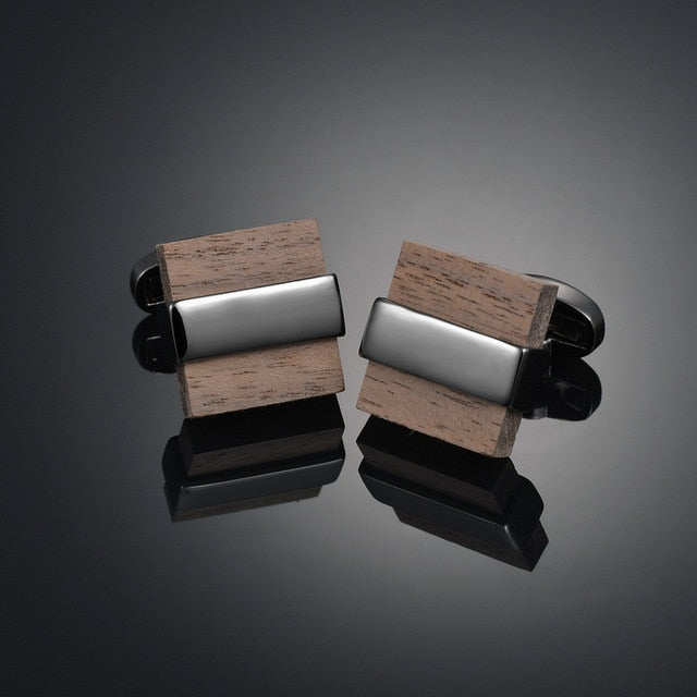Luxury Wooden Shirt Cufflinks for mens Brown cuff link button High Quality Wedding Groom Jewelry