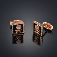 Load image into Gallery viewer, Luxury Wooden Shirt Cufflinks for mens Brown cuff link button High Quality Wedding Groom Jewelry