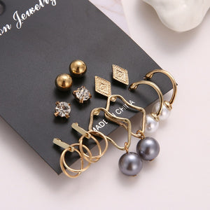 EN 12 Pairs Flower Women'S Earrings Set Pearl Crystal Stud Earrings Boho Geometric Tassel Earrings For Women 2020 Jewelry Gift