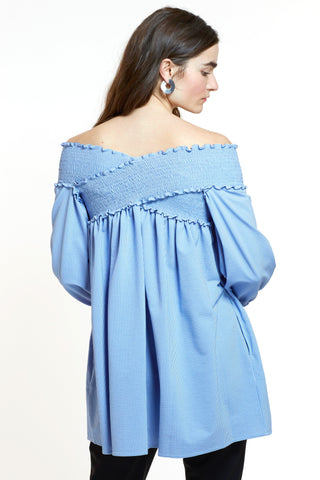 Mitera James Japanese Cotton Off-The-Shoulder Tunic Back View