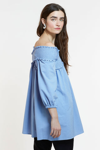 styling - Mitera James Japanese Cotton Off-The-Shoulder Tunic Seersucker