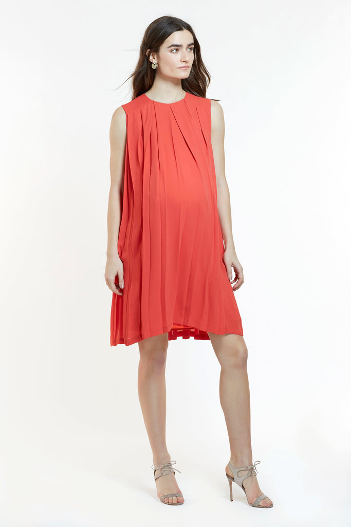 Mitera Ellen Maternity and Nursing Dress Deep Coral