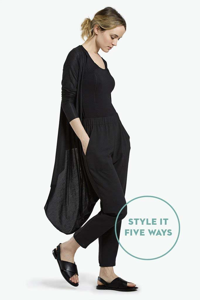 Nadia Loop Maternity and Nursing Cardigan Black Open