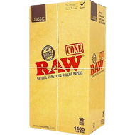 RAW King Size 109mm Unbleached Pre Rolled Paper Cones 1400/Box