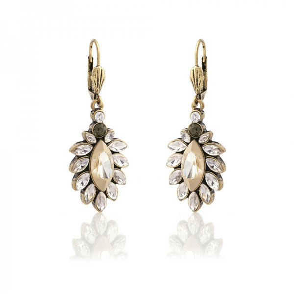 1950's style diamante white opal drop earrings