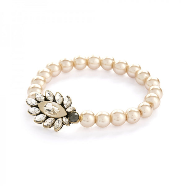 1950's inspired white opal and pearl bracelet