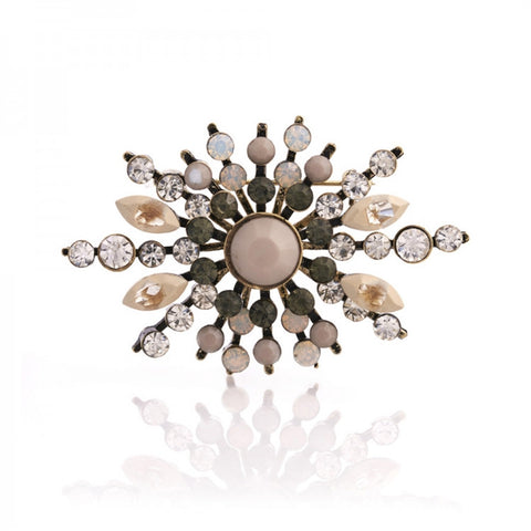 1950's inspired Diamante and Opal Brooch