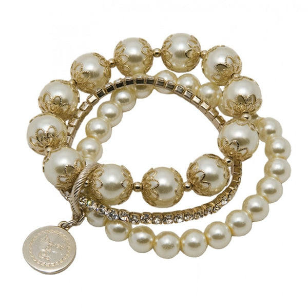 Swarovski and Glass Pearl Bracelet Set in Cream