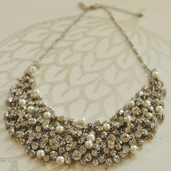 Diamante and Pearl Statement Necklace