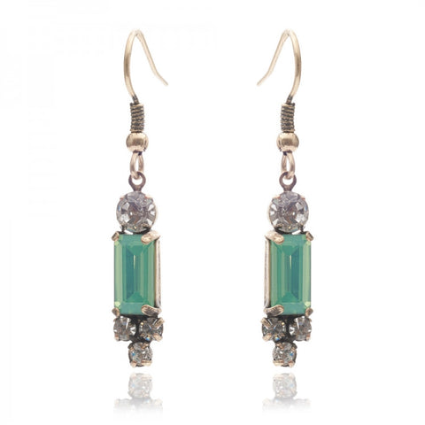 Milk Stone and pacific Opal Earrings
