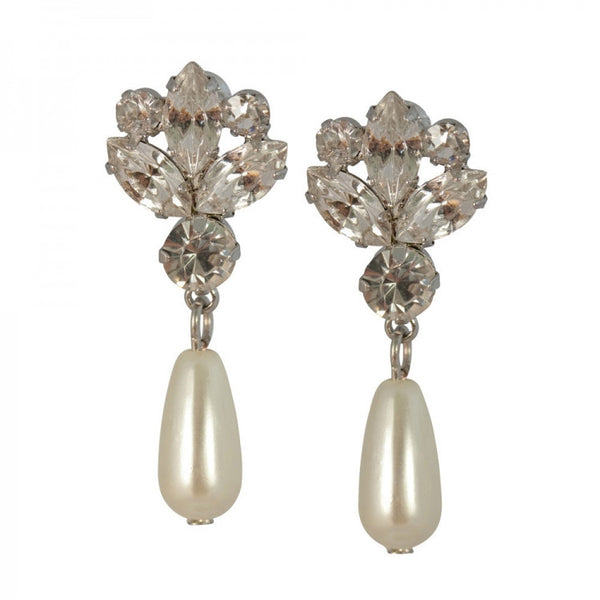 Clip on Earrings Czech Crystal and Glass Pearl  in Vintage Cream