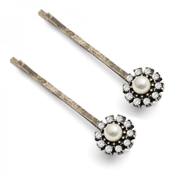 Grace Hair Clips  with Pearl and Czech Crystal
